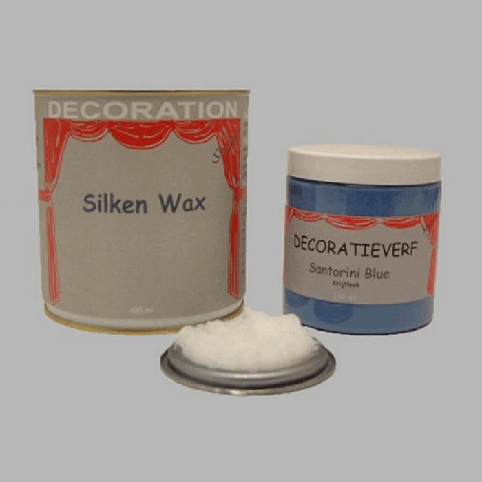 Silken wax (400ml) en krijtverf Santorini Blue(250ml)