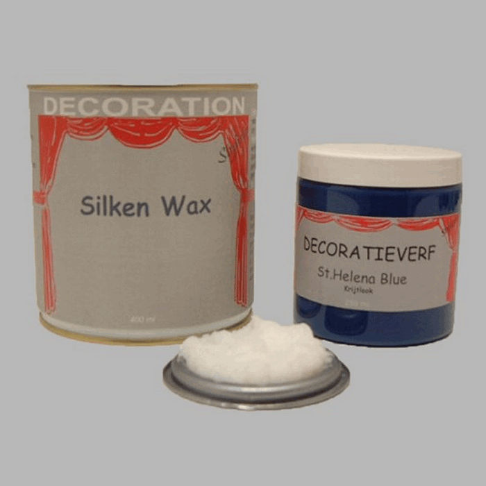 Silken wax (400ml) en krijtverf St Helena Blue(250ml)