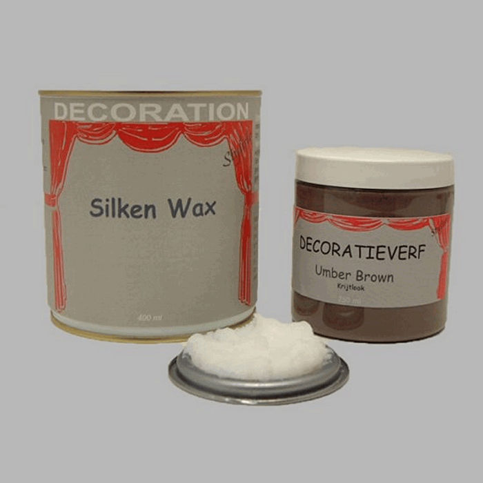 Silken wax (400ml) en krijtverf Umber Brown(250ml)