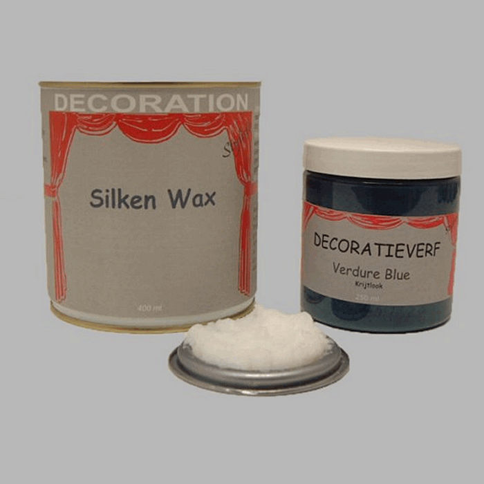 Silken wax (400ml) en krijtverf Verdure Blue(250ml)