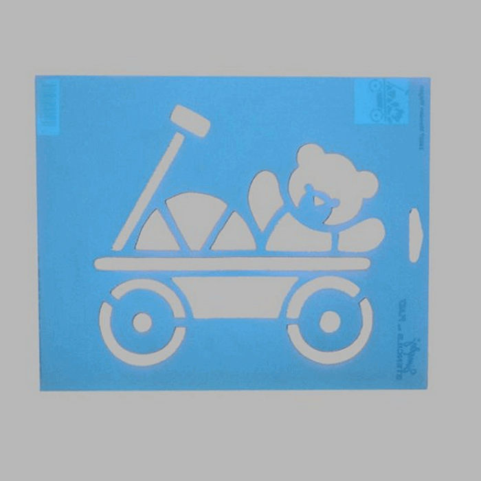 toy car stencil color blue 20 x 25 cm