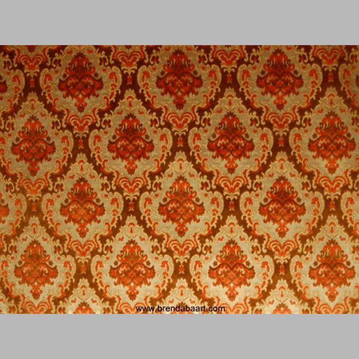 Retro stof design klassieke medaillon oranje en bruin - Kussen oranje en bruin ...
