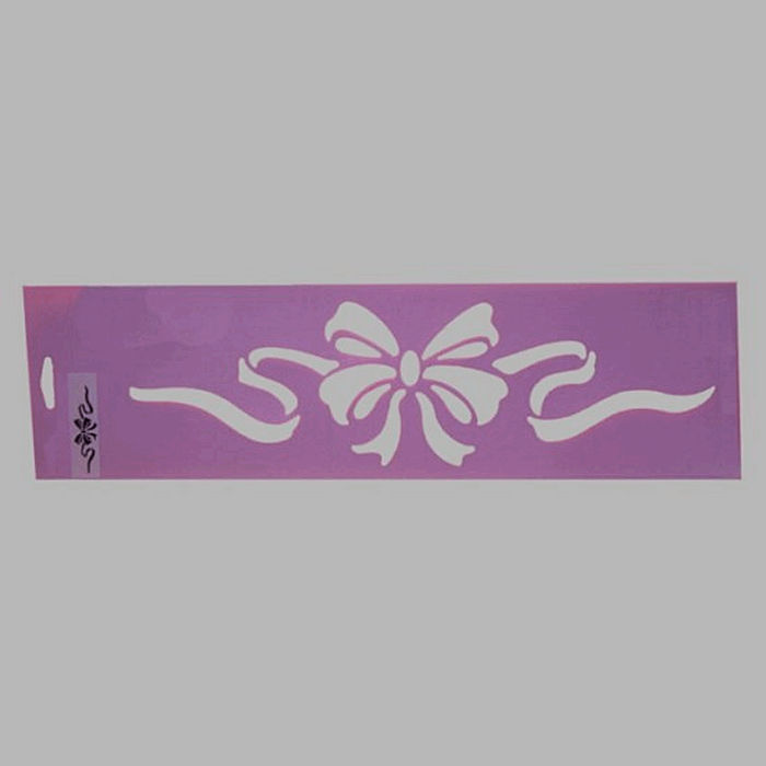 bow with ribbons stencil color purple 12.5 x 45 cm