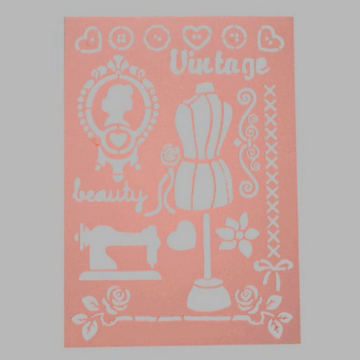vintage stencil transparent 210 x 295 cm washable