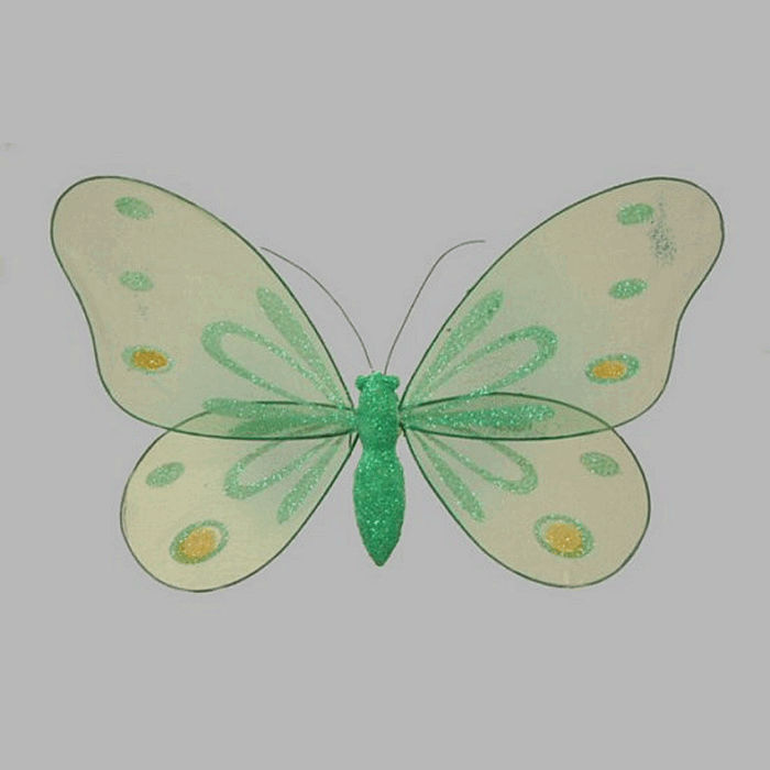 butterfly colour green with glitter 25 x 15 cm