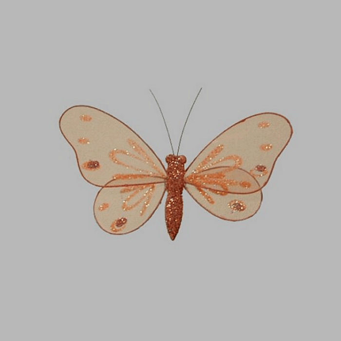 butterfly color orange brown with glitter 14 x 8 cm 4 pieces