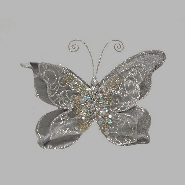 butterfly color mother of pearl silver 20 x 16 cm