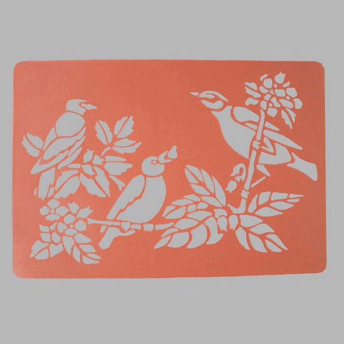 birds on branch stencil color white 26 x 38 cm washable