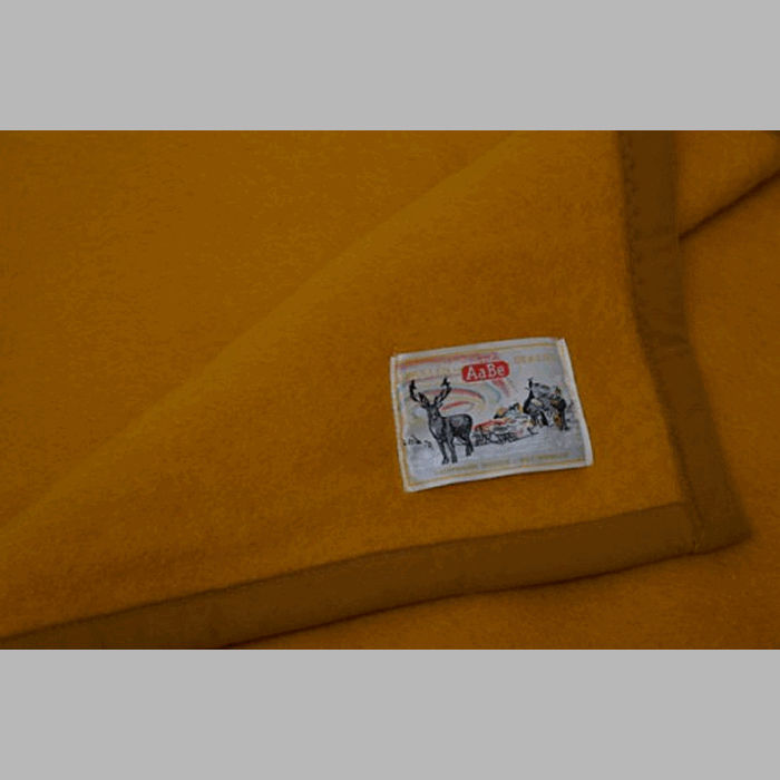 woolen blanket color ochre 150 x 220 cm